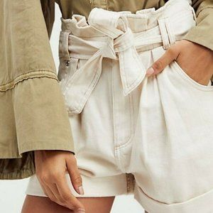 Free People Pleated Paperbag Tie Waist Shorts XS